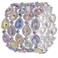Multi-coloured gemstone and diamond bracelet by Chopard. Via CIJ Jewellry Magazine. Gems Jewelry, Gemstone Jewelry, Jewelry Accessories, Fine Jewelry, Lotus Jewelry, Diamond Gemstone, Gemstone Colors, Diamond Jewelry, International Jewelry