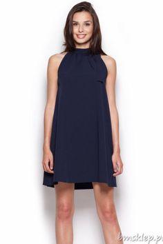 Elegancka sukienka damska o trapezowym kroju. - #dekolt na stójce - z boku wiązanie - model bez rękawka - z boku zapięcie na kryty #zamek - dół rozszerzający się ku dołowi - luźny #fason - świetnie kryje niedoskonałości figury - sukienka wykonana z delikatnego, nierozciągliwego materiału - idealna na letnie dni Skład: 65% #poliester, 35% #wiskoza.... #Sukienki - http://bmsklep.pl/sukienki