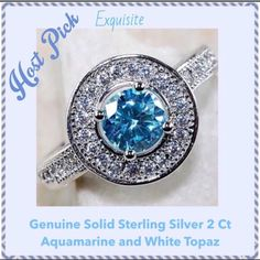 """2Ct Solid 925 Aquamarine & Wht Topaz ♓️️ """"Weekend Wardrobe"""" Party by @lauras_boutique This is a Gorgeous 2Ct Genuine 925 Solid Sterling Silver Aquamarine and White Topaz Ring.  Ring looks lighter in sunlight as seen in the last two pictures. Aquamarine is a pale beautiful blue.  Box included. Jewelry Rings"""
