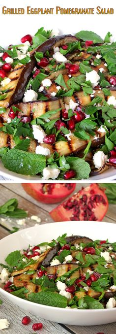 Healthy Grilled Eggplant, Pomegranate And Feta Salad | yummyaddiction.com