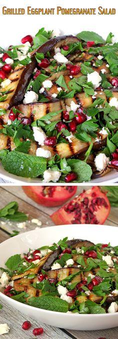 Healthy Grilled Eggplant, Pomegranate And Feta Salad | yummyaddiction.com