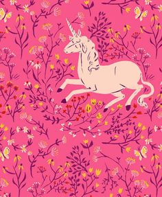 Flowers and unicorns, why should a girl's taste ever grow up? Fabric design by Heather Ross