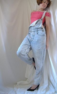 denim overalls with one shoulder undone