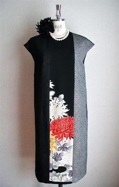クリックで元の大きさに戻ります Kimono Fabric, Kimono Dress, Vintage Inspired Fashion, Retro Fashion, Elegant Dresses, Beautiful Dresses, Kimono Fashion, Fashion Outfits, Modern Kimono