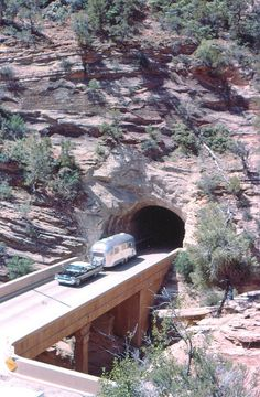 65-1-43    Zion NP - This is not our trailer. My dad must have waited for an Airstream! (1965)