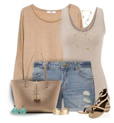 Nude Sandals. Polyvore, fashion, style, MANGO, maurices, Dorothy Perkins, Joie, Sole Society, Blue Nile, Fornash and Croft & Barrow. Summer sweater. Jean shorts. Fashion for women over 40. Summer outfits.