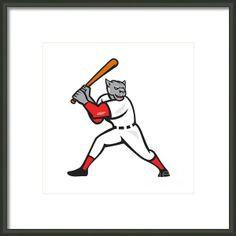 Black Panther Baseball Player Batting Isolated Framed Print By Aloysius Patrimonio