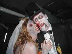 Zombie bride and groom. Throw a joint bachelorette/bachelor party, zombie-style.