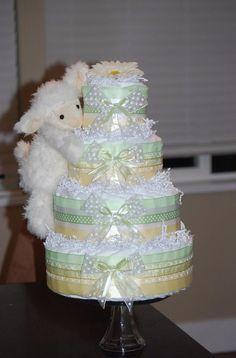 Baby lamb diaper cake