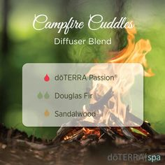 Campfire Cuddles doTERRA Spa Essential Oil Diffuser Blend Passion,  Douglas Fir,  and Sandalwood. I bet this is amazing!