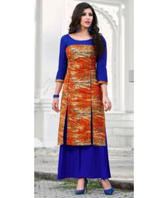 Earthy Orange And Multi-Color Cotton Kurti.