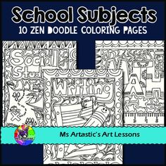 What is your favorite school subject? 10, zen tangle coloring pages to allow for educational, mindful coloring in your classroom. Use them as coloring pages, subject title pages, or subject binder covers! All coloring pages are hand drawn by Ms Artastic with love and care.How to use:You can use these in anyway you want but they are a great art center activity or Time Saver or When Your Done activity to keep fast finishing students quiet, busy and at their seats while you help others finish…