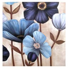Blue and White Poppies Set of 2 Oil Paintings Dog Paintings, Watercolor Paintings, Decoupage Dresser, Painting Gallery, Diy Canvas Art, Living Room Art, Art For Sale, Poppies, Diy Crafts