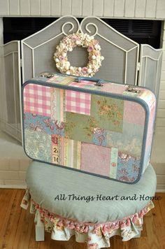 Sweet Vintage Suitcase redone using mod podge