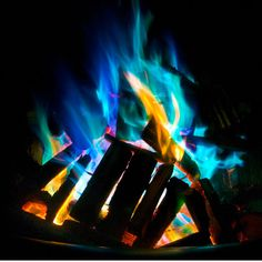 Colored fire was created using color changing pinecones from Plow ...