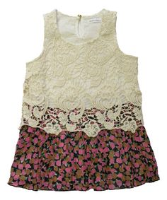 Look at this #zulilyfind! Pink Lace Floral Pleated Dress - Toddler & Girls by Dino Bebe #zulilyfinds