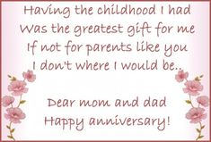 Happy Anniversary Cards For Parents Happy Anniversary Mom And