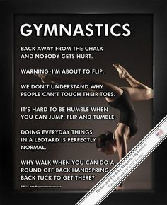 """Inspire your gymnast with a Gymnast Pose Poster Print. """"Warning-I'm about to…"""