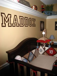 Maddoxs All-Star Sports/Inspirational Room, I wanted to create a nursery for our son to grow with.  My husband is a sports fanatic but i did...