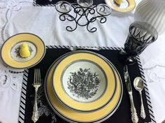 Need some table-setting ideas? Take a look at Tablescape Times Three. Their table-setting designs are beautiful... Table Setting Design, Table Settings, Place Setting, China Patterns, Event Decor, Tablescapes, Party, Peeps, Goodies