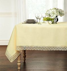 Ultra Luxurious Textured Macrame Trim Fabric Tablecloth By GoodGram - Assorted Sizes & Colors - Beige, x Rectangle Chair): Regal Home Collections Luxurious Macrame Trim Fabric Tablecloth - Assorted Sizes Whats Included: 1 Tablecloth Outdoor Tablecloth, Tablecloth Sizes, Tablecloth Fabric, Round Tablecloth, Tablecloths, Teak Table, Dining Room Table, Dining Rooms, Kitchen Dining