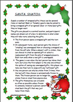 Santa Snatch (also known as Dirty Santa) - fun Christmas game for adults and/or kids
