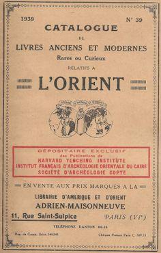 Catalogue de Livres Anciens et Moderns 1939