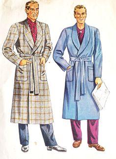 """1940s Men's Shawl Collar Robe Smoking Jacket Bathrobe Vintage Sewing Pattern McCall's 5465 Men's Size 46"""" to 48"""""""