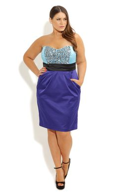 City Chic BEADED BLUES DRESS - Women's Plus Size Fashion