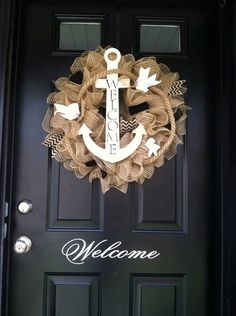 Summer Wreath-Anchor Wreath - Nautical Wreath - Shore Wreath - Beach Wreath - Nautical - Anchor - Summer Decor -Welcome Wreath - Deco Mesh on Etsy, $73.55 CAD