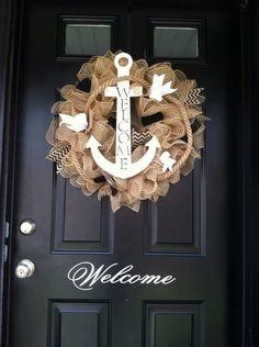 Summer WreathAnchor Wreath Nautical Wreath Shore by jennyCmoon, $65.00