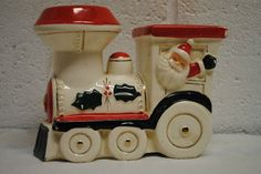 vintage ceramic Christmas bank on eBay from missrubyb and on Facebook at lazyroosterantiques