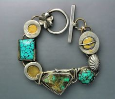 Opal, Gold and Turquoise Bracelet by Temi Kucinski