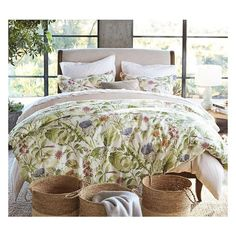 Thistle Floral Print Organic Duvet Cover Sham (€37) ❤ liked on Polyvore featuring home, bed & bath, bedding and bed accessories