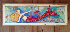 Mermaid Coastal Decor on Repurposed Wood. $120.00, via Etsy.
