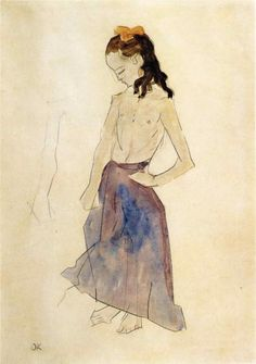 Girl with a Yellow Headband, 1908-1909			-Oskar Kokoschka - by style - Expressionism