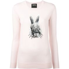 Markus Lupfer sequin bunny jumper featuring polyvore, women's fashion, clothing, tops, sweaters, pink, merino sweater, markus lupfer top, pink sweater, markus lupfer sweater and pink bunny sweater