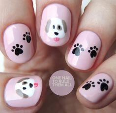 Emoji Dogs (One Nail To Rule Them All) There's no point in denying it, I'm a huge over-user of emojis, but I've never really had the urge to translate that into nails. That is until I realised the cute potential the dog emoji holds. Dog Nail Art, Nail Art For Kids, Animal Nail Art, Cute Nail Art, Nail Art Diy, Cute Nails, Animal Nail Designs, Girls Nail Designs, Cool Nail Designs