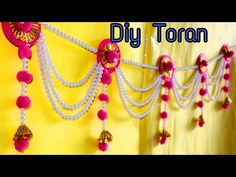 DESIGNER TORAN#1 WITH OLD BANGLES - YouTube Diy Crafts Hacks, Diy Home Crafts, Diy Arts And Crafts, Creative Crafts, Diwali Decorations At Home, Door Hanging Decorations, Festival Decorations, Kalash Decoration, Decoration For Ganpati