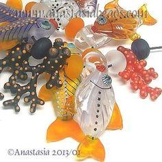 "Anastasia Lampwork Beads 11 ""Jellyfish Reef"" SRA | eBay  http://www.ebay.com/itm/261143431578?ssPageName=STRK:MESELX:IT&_trksid=p3984.m1555.l2649"