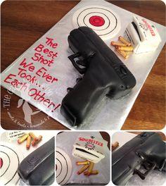 Glock pistol anniversary cake with fondant details via The Cake Mom & Co.