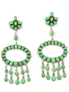 """Large Variscite Chanelier Dangle Earrings by Elenor Largo from Southwest Silver Gallery. These are handmade, big and bold green varicite chandelier earrings that are 4 1/2"""" in length and approx. 1 3/4"""" wide at the center loop. The earrings are vibrant green, eye-catching and beautiful statement  earrings! http://www.southwestsilvergallery.com/AWSProducts/23356-C-22-P-42/Large-Variscite-Chandelier-Dangle-Earrings-by-Elenor-Largo-Navajo"""