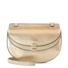 Chloé Georgia Mini Metallic Leather Shoulder Bag (14.295.775 IDR) ❤ liked on Polyvore featuring bags, handbags, shoulder bags, gold, chloe purses, gold metallic purse, genuine leather purse, metallic leather purse and gold metallic handbags