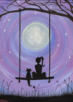 A Girl and her Cat (PRINT) A girl and her cat. Sure to capture the hearts. In this dreamy, heartfelt silhouette of a girl and her cat sitting on a swing under the majestic full moon, get lost. My cat Kickick inspires my art. She was my first experience of Art Sketches, Art Drawings, Drawings Of Girls, Cat Sitting, Pastel Art, Cat Art, Painting & Drawing, Swing Painting, Moon Painting