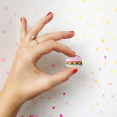 Pink Burger Hard Enamel Lapel Pin Cute Quirky by WinkPins on Etsy Selling Handmade Items, Handmade Gifts, Pin Badges, Lapel Pins, Fashion Details, Patches, Pink, Enamels, Etsy