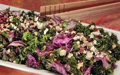 Kale Salad with Farro, Dried Fruit and Blue Cheese by Russ Parsons, latimes #Salad #Kale #Fruit #Blue_Cheese #Farro #Healthy #Easy