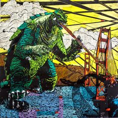 Gamera takes on San Francisco's Golden Gate Bridge! This is a digital reproduction of Eric Rewitzer's linocut--carved at California's 3 Fish Studios, then printed on-site in the Outer Sunset with 8-color UltraChrome K3™ inks on 300gsm Cold Press Bright paper. Archival, highest possible quality.