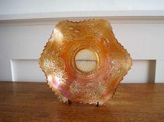 Art Nouveau Style - Vintage Carnival Glass Bowl  Fenton Orange by GoldenDaysAntiques