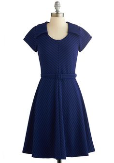 To a Tee Time Dress in Navy. Hopping onto a golf cart and whizzing down the courses path, you couldnt be more excited to help out at todays charity golf outing - and to be wearing this ModCloth-exclusive striped dress by Myrtlewood! #blue #modcloth