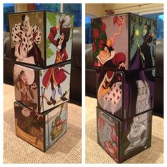 Disney Villain Blocks (homage to the Haunted Mansion's stretching portraits); mod-podged onto wooden craft blocks